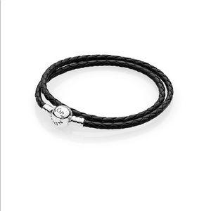 Jewelry - Pandora Black Leather charm bracelet